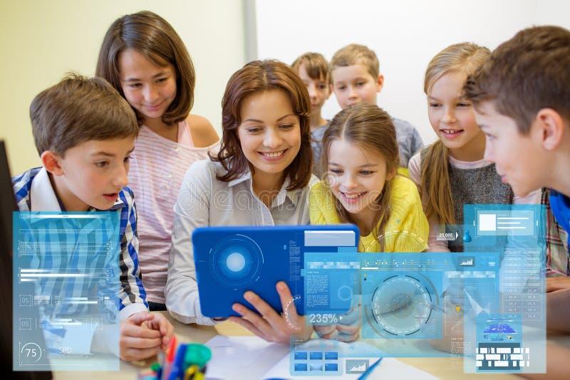Grupo de crianças com o PC do professor e da tabuleta na escola imagens de stock