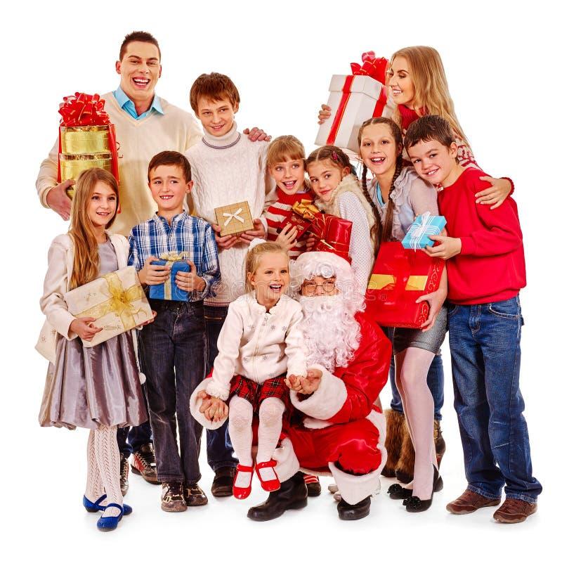 Grupo de crianças com Papai Noel imagem de stock