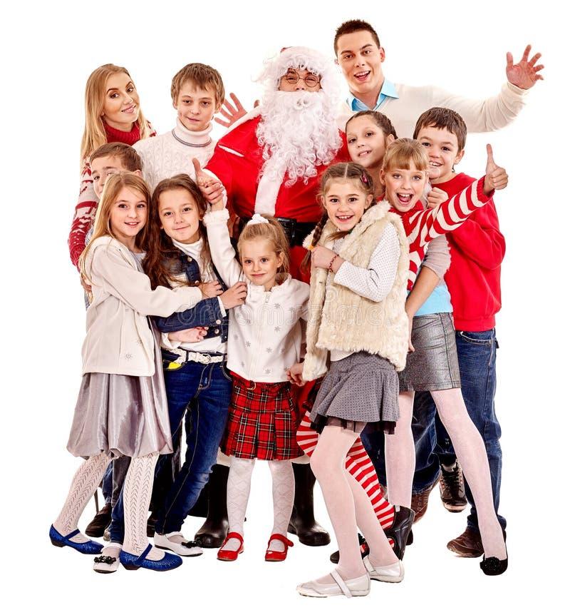 Grupo de crianças com Papai Noel fotografia de stock