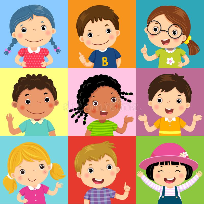 Grupo de crianças diferentes com várias posturas ilustração do vetor