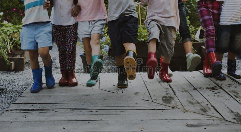 Grupo de crianças do jardim de infância que aprendem a jardinagem fora fotos de stock