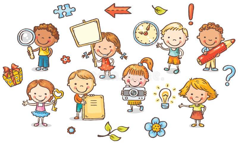 Grupo de crianças dos desenhos animados que guardam objetos diferentes ilustração do vetor