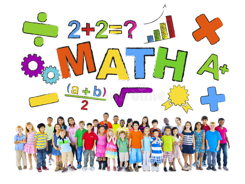 Grupo de crianças e de conceito matemático fotos de stock