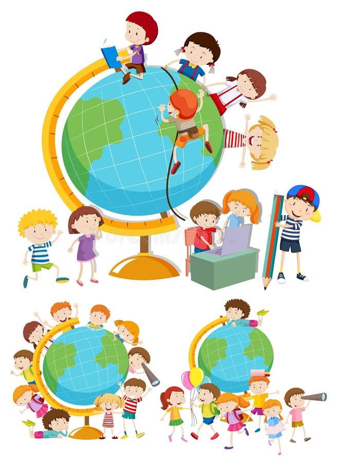 Grupo de crianças e de globos ilustração do vetor