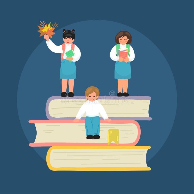 Grupo de crianças de escola primária minúsculas na pilha de livros de texto ilustração stock