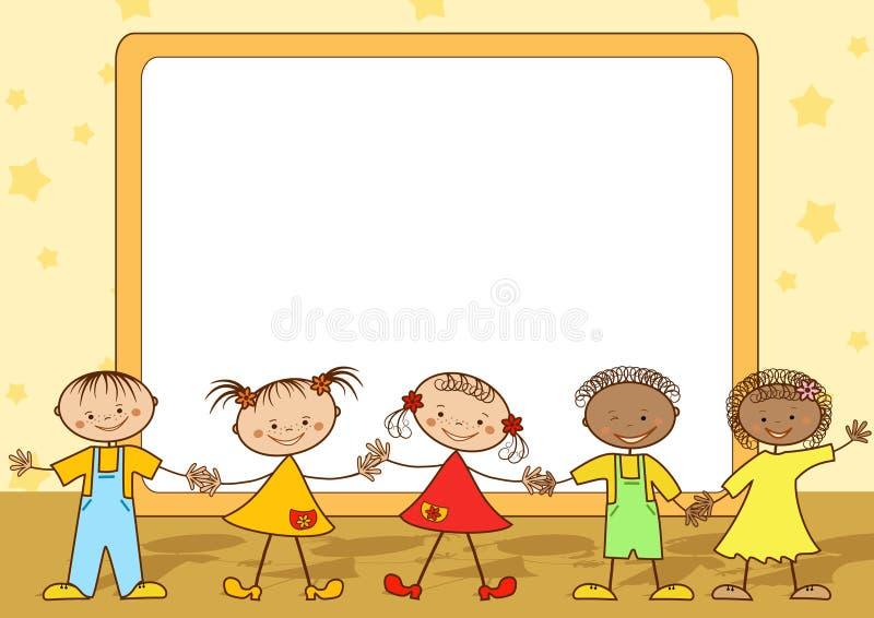 Grupo de crianças felizes. ilustração royalty free