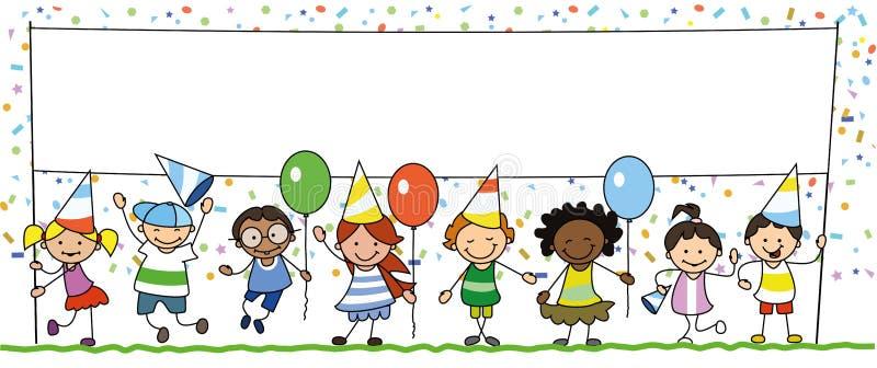 Grupo de crianças felizes na festa de anos que guarda a bandeira branca com espaço da cópia - ilustração do vetor