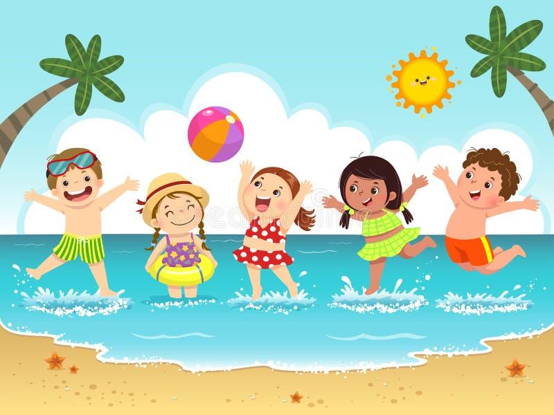 Grupo de crianças felizes que têm o divertimento e que espirram na praia ilustração do vetor