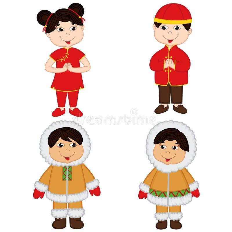 Grupo de crianças isoladas de nacionalidades chinesas e Eskimo ilustração stock