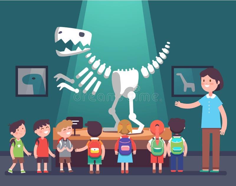 Grupo de crianças na excursão do museu da arqueologia ilustração royalty free