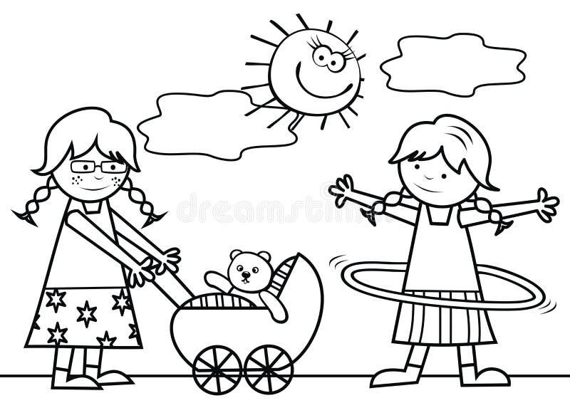 Grupo de crianças no campo de jogos, eps ilustração do vetor