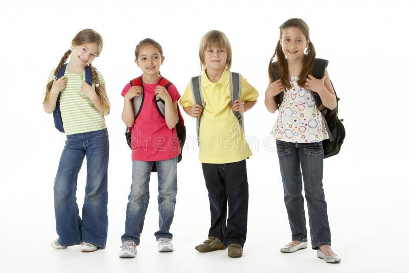 Grupo de crianças no estúdio fotos de stock royalty free