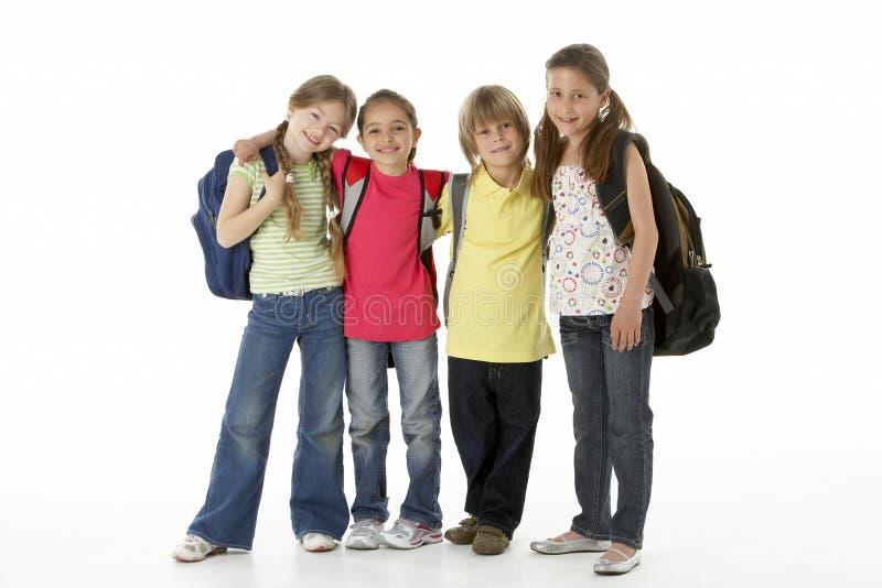 Grupo de crianças no estúdio imagens de stock royalty free