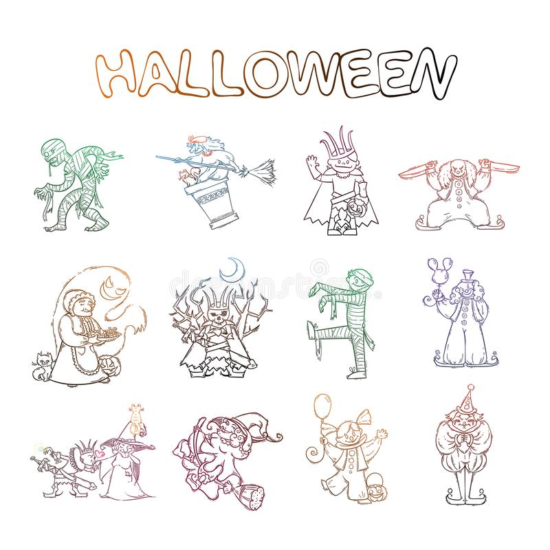 Grupo de crianças nos trajes para Dia das Bruxas E bruxas e espíritos necrófagos Lich ou rei Koschey do russo, mamã, palhaço ilustração stock