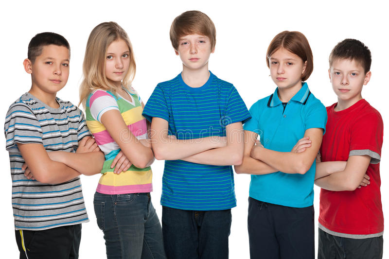 Grupo de crianças pensativas fotos de stock royalty free