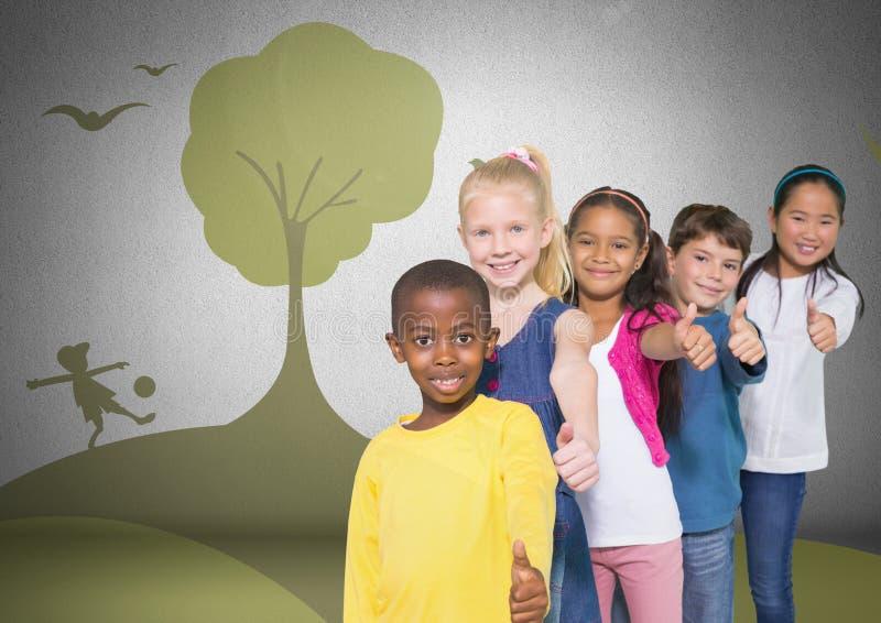 Grupo de crianças que estão na frente dos gráficos brincalhão do parque natural ilustração stock