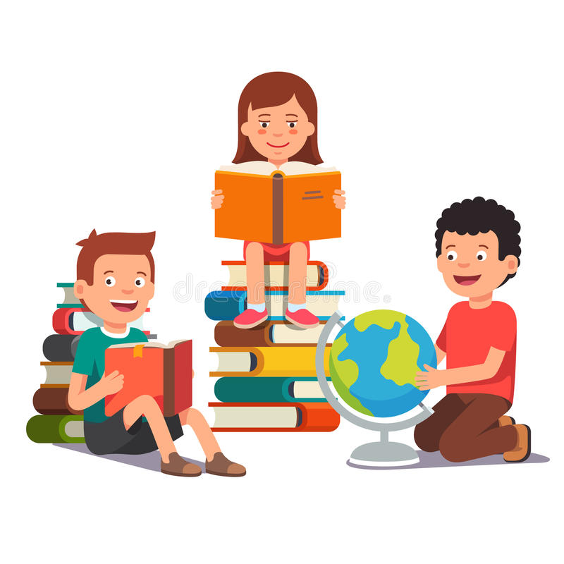 Grupo de crianças que estudam e que aprendem junto ilustração royalty free