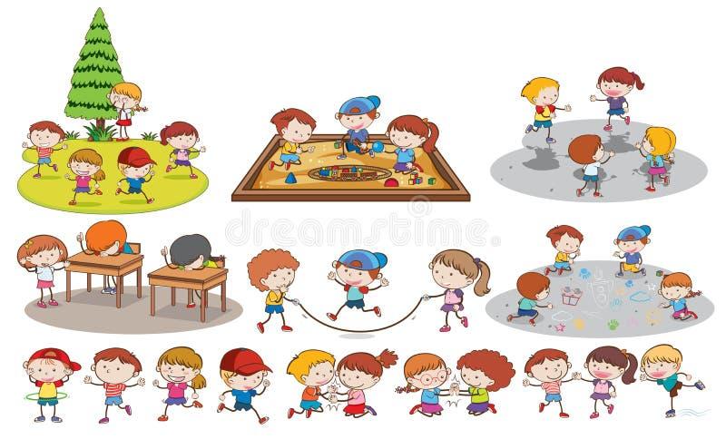 Grupo de crianças que fazem activites ilustração stock