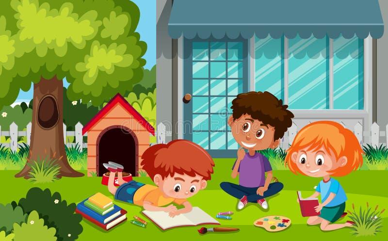 Grupo de crianças que fazem activites no jardim ilustração royalty free