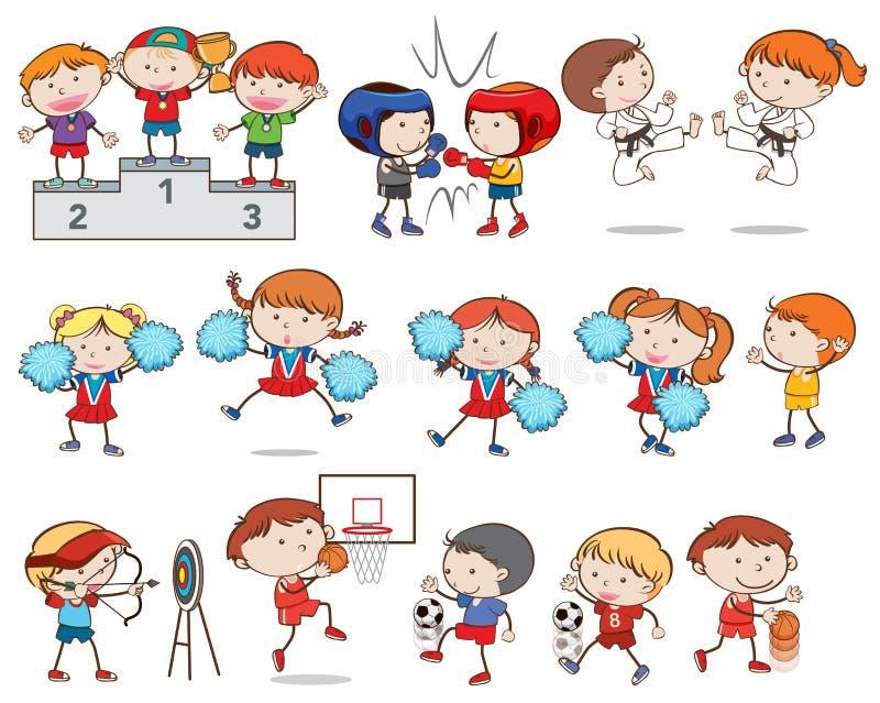Grupo de crianças que fazem esportes diferentes ilustração do vetor