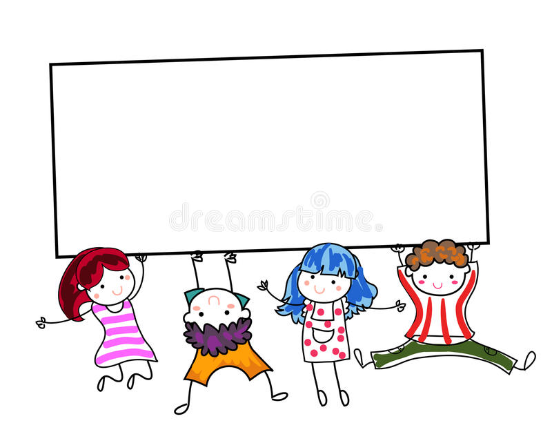Grupo de crianças que guardam a bandeira ilustração stock