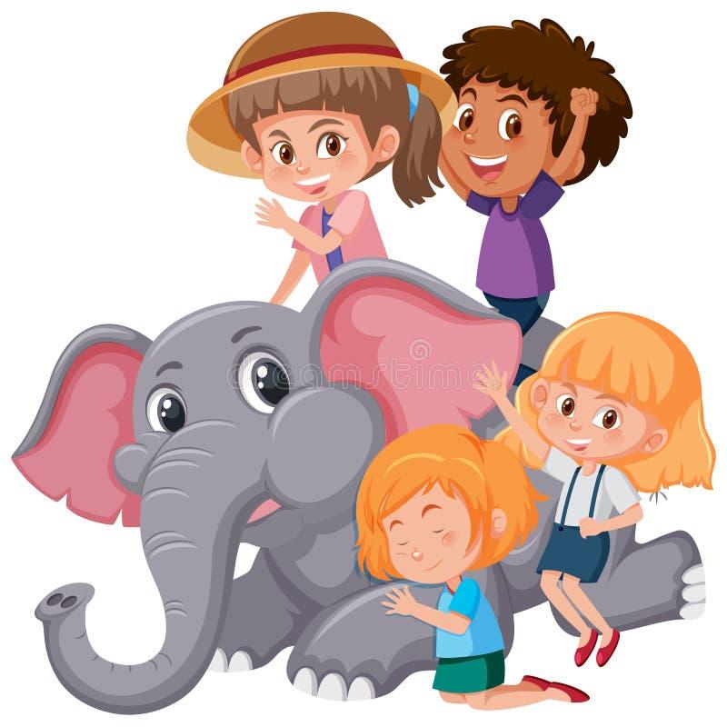 Grupo de crianças que jogam com elefante ilustração stock