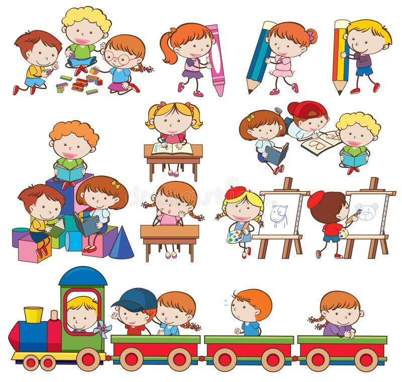 Grupo de crianças que jogam e que fazem atividades ilustração royalty free