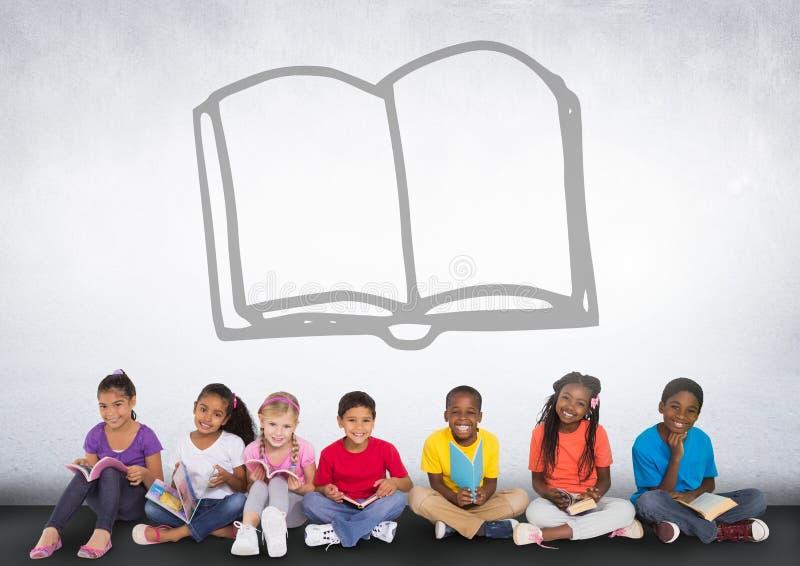 Grupo de crianças que sentam-se na frente do gráfico do livro ilustração do vetor