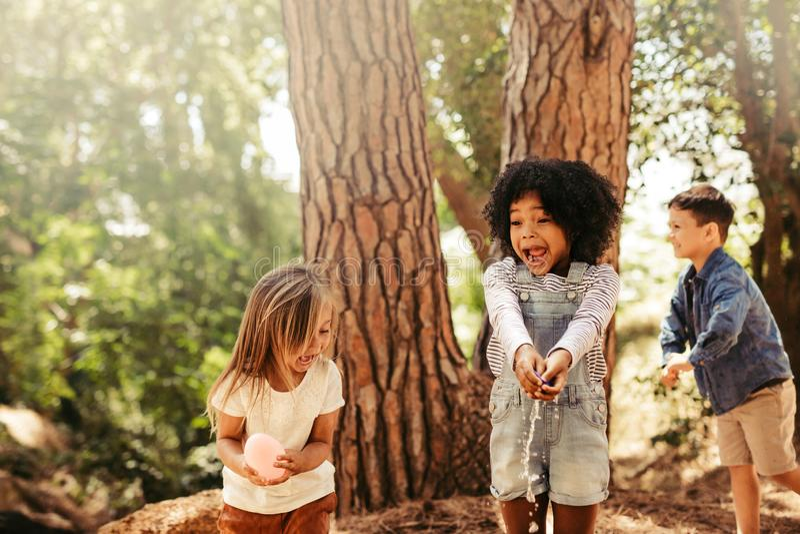 Grupo de crianças que têm o divertimento na floresta foto de stock