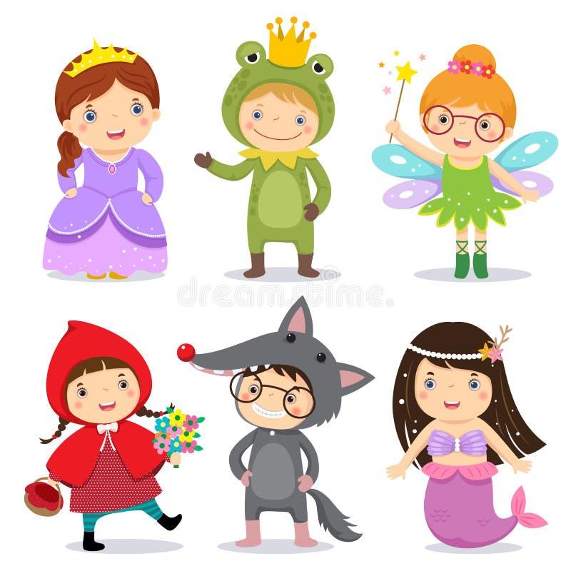 Grupo de crianças que vestem no tema do conto de fadas ilustração stock