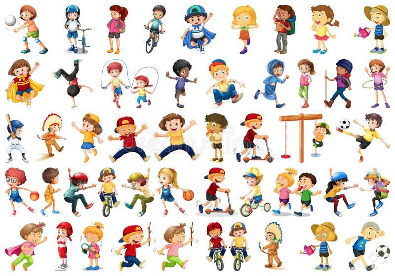 Grupo de crian?as que fazem activites ilustração royalty free