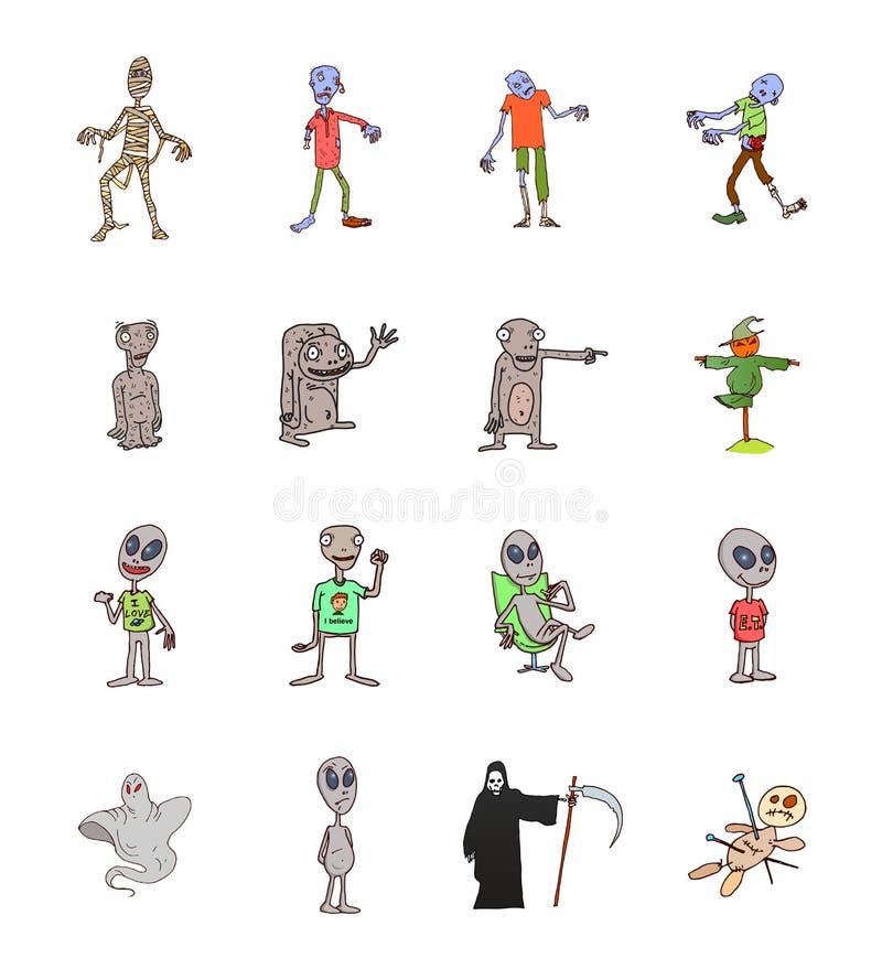 Grupo de criaturas estrangeiras cinzentas bonitos ilustração royalty free