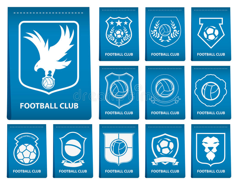 Grupo de crista do futebol ou do futebol na etiqueta azul no projeto liso Emblema do logotipo do futebol Crachá do futebol Vetor ilustração do vetor