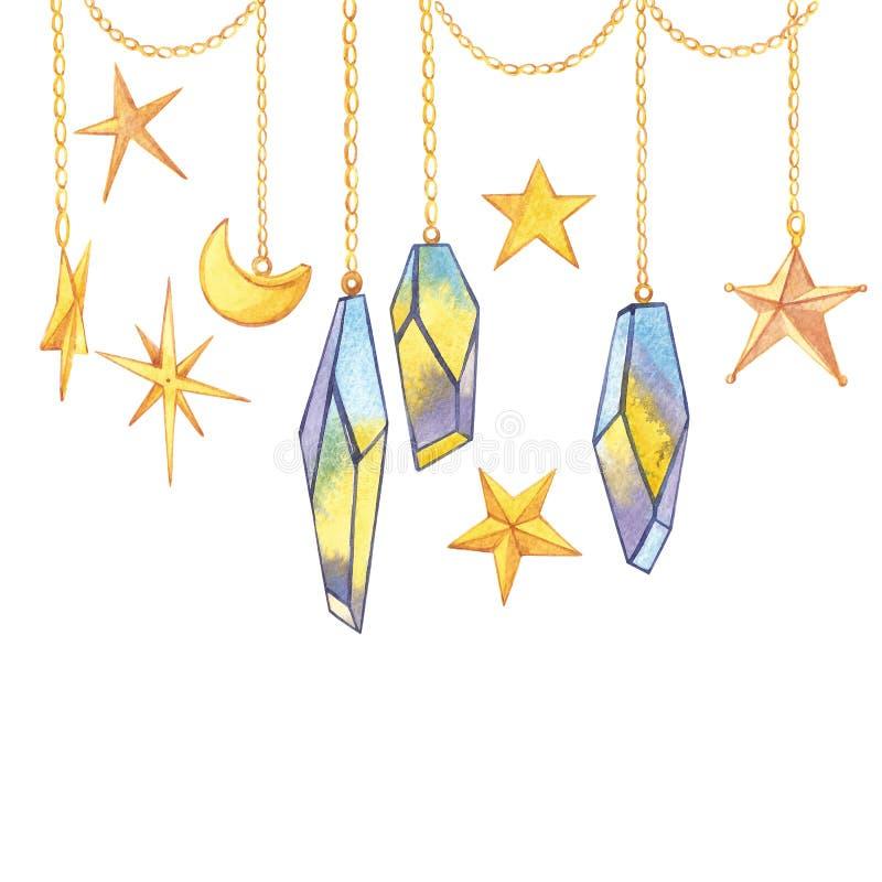 Grupo de cristais geométricos na corrente com as estrelas e o crescente Logotypes na moda do moderno Ícones poligonais com ilustração do vetor