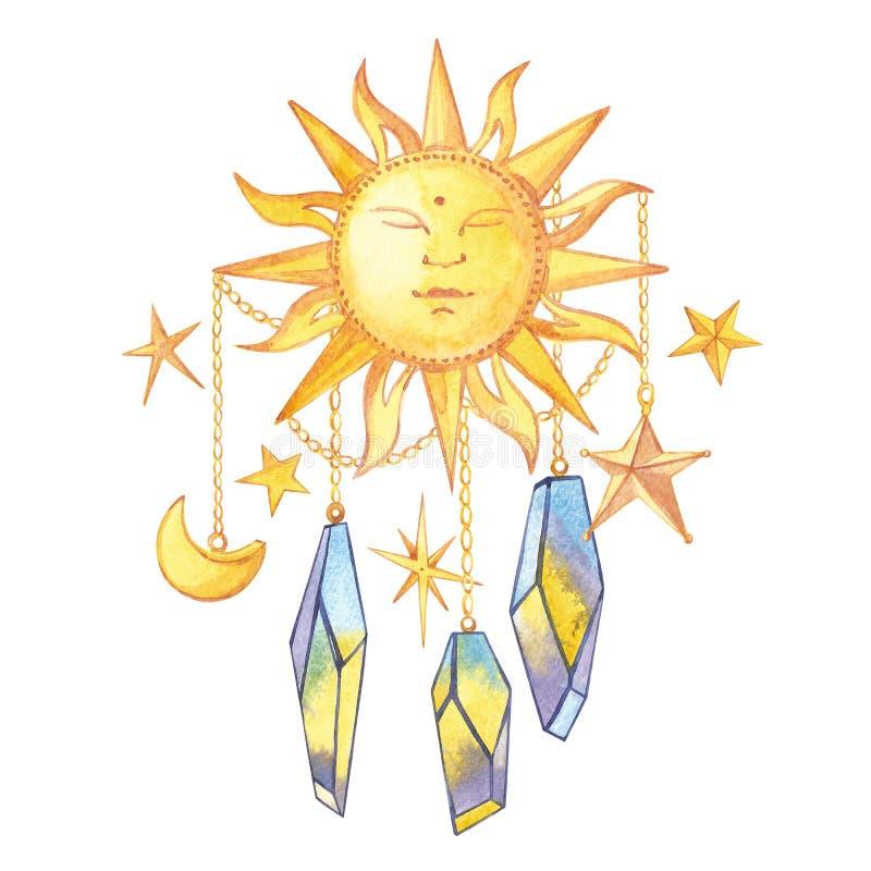 Grupo de cristais geométricos na corrente com as estrelas e o crescente e o sol Logotypes na moda do moderno polygonal ilustração stock