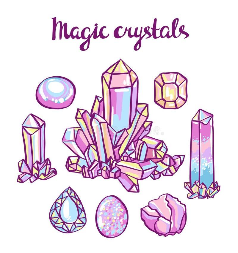 Grupo de cristais mágicos Grupo do joalheiro ilustração royalty free