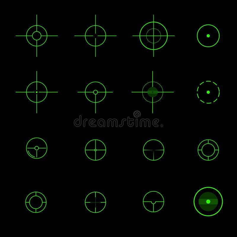 Grupo de crosshairs diferentes do vetor ilustração do vetor