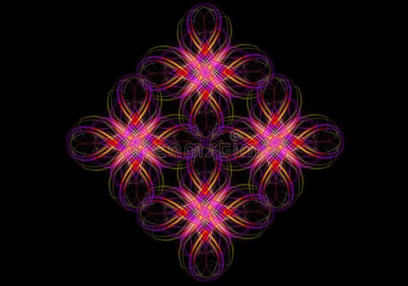 Grupo de cruces del fractal de sombras rojo-anaranjadas y púrpuras, recogidas de rayas torcidas del arco iris en un fondo negro stock de ilustración