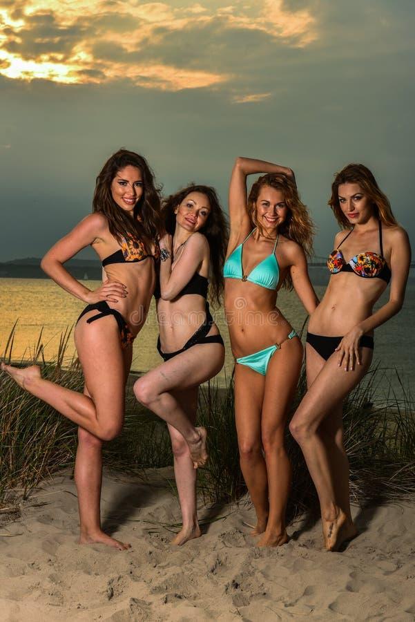 Grupo de cuatro modelos que llevan los bikinis que presentan en la playa de la puesta del sol foto de archivo