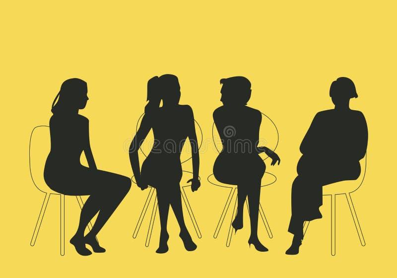 Grupo de cuatro mujeres que sientan junto hablar junto stock de ilustración