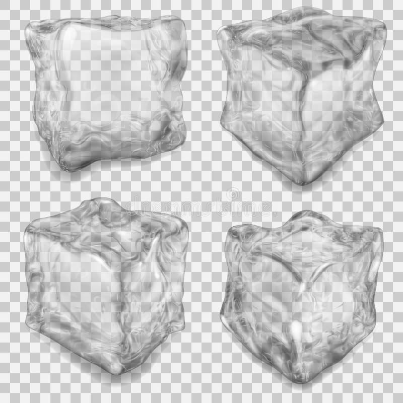 Grupo de cubo de gelo cinzento transparente ilustração royalty free