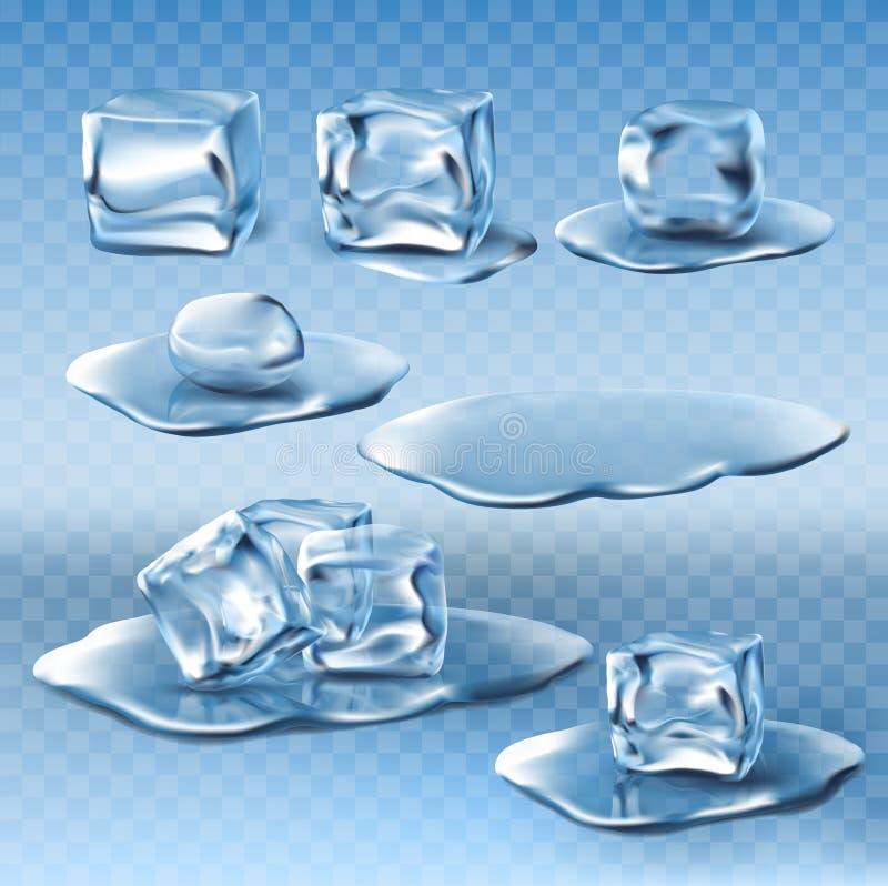 Grupo de cubos de gelo do vetor e de poças de derretimento molhados da água ilustração do vetor
