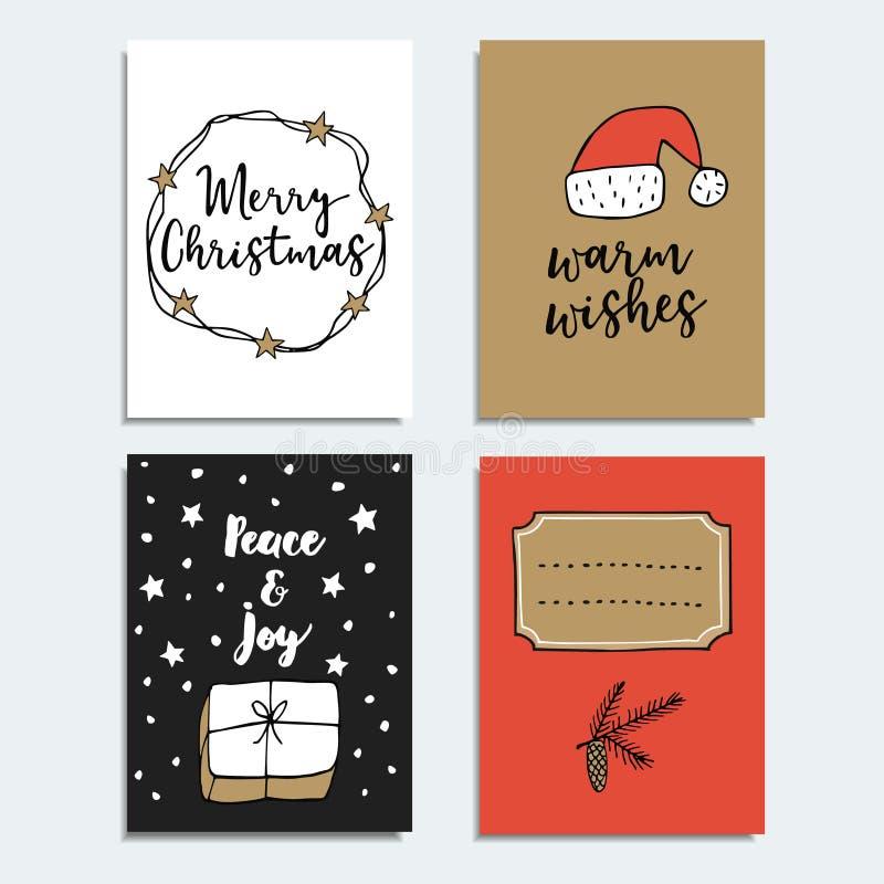 Grupo de cumprimentar tirado mão ou de girar cartões, convites Cartazes da rotulação do Natal, moldes criativos ilustração royalty free