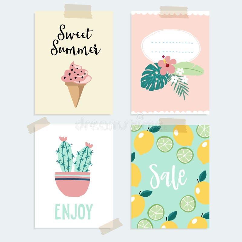 Grupo de cumprimento tirado mão do verão ou de cartões do giro Projeto tropical com folhas de palmeira, cacto, fruto do limão e g ilustração royalty free