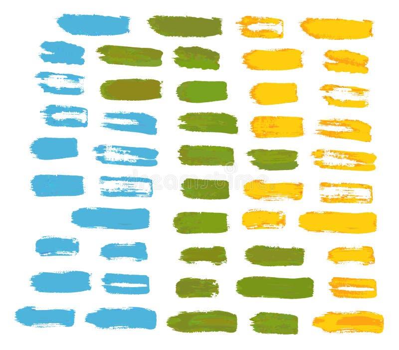 Grupo de cursos artísticos da escova de cerda ilustração stock