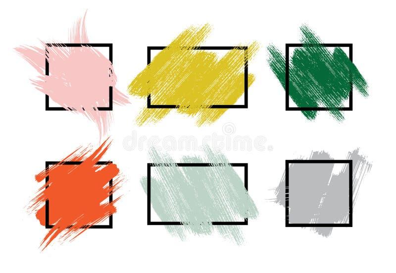 Grupo de cursos pintados à mão coloridos da escova com bordas ásperas ilustração royalty free