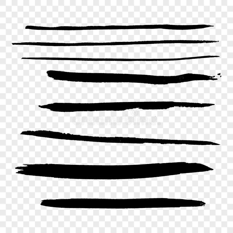 Grupo de cursos de tinta preta da escova do grunge isolados na transparência b ilustração stock