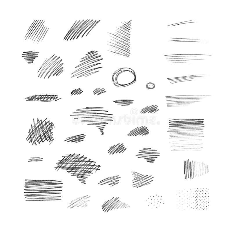 Grupo de cursos tirados mão do lápis ilustração stock