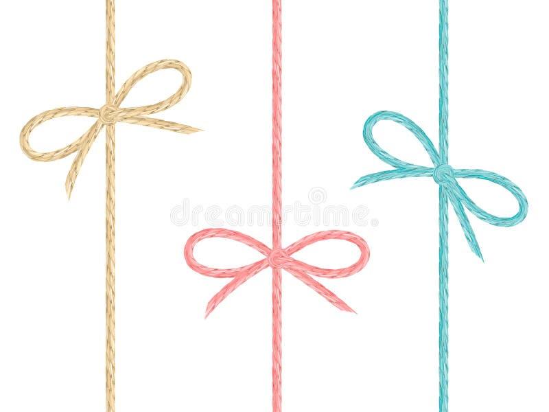 Grupo de curvas de linho coloridas da corda ilustração stock