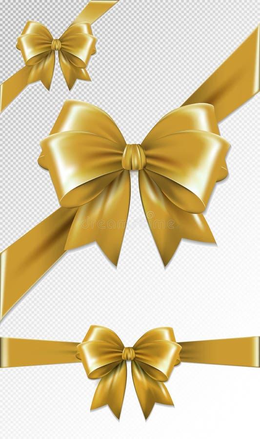 Grupo de curvas do presente do ouro Ilustração do vetor Conceito para o convite, as bandeiras, os vales-oferta, as felicitações o ilustração stock